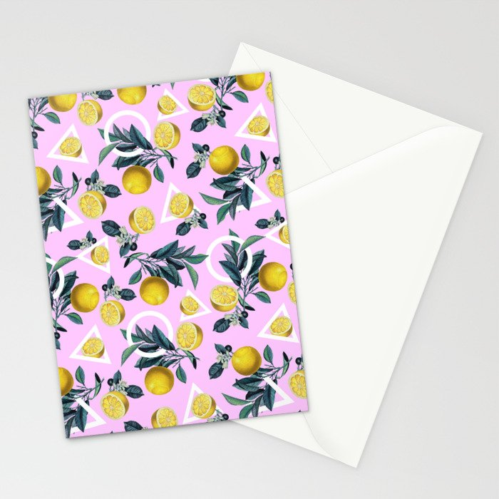 Geometric and Lemon pattern Stationery Cards
