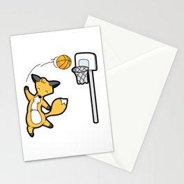 Basketball Playing Happy Fox Stationery Cards