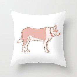 Kawaii Dog with Collar Illustration Throw Pillow