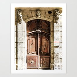 Doorway   Hotel de La Grange Nimes France Vintage Rustic Old World Desaturated Architecture Art Print