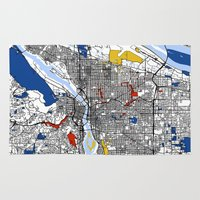 portland Area & Throw Rugs featuring Portland map by Mondrian Maps
