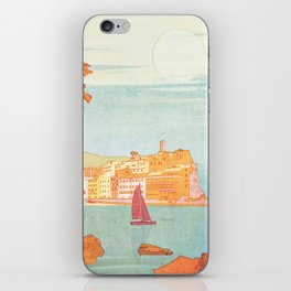 Italy, Cinque Terre Vintage Travel Poster iPhone Skin