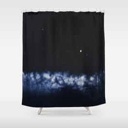 Contrail moon on a night sky Shower Curtain