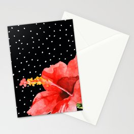 Tropical flower on dots Stationery Cards