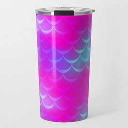 Pink and Blue Mermaid Tail Abstraction. Magic Fish Scale Pattern Travel Mug
