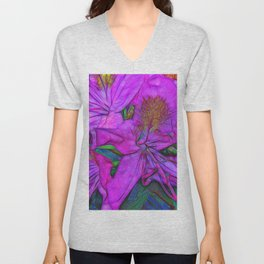 Rhododendron Fuscia Pink Unisex V-Neck