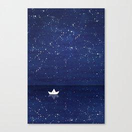 Zen sailing, ocean, stars Canvas Print