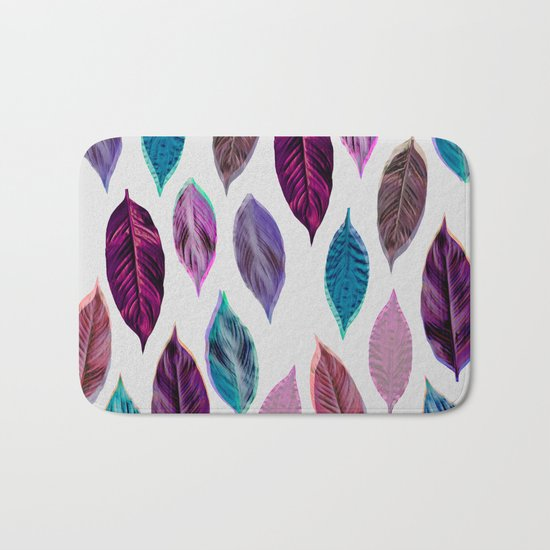 Pink Leaves 2 Bath Mat