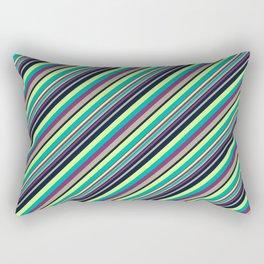 Summer Flowers Inclined Stripes Rectangular Pillow