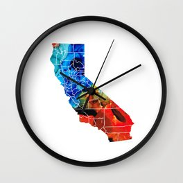 California - Map Counties by Sharon Cummings Wall Clock