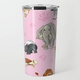 African Animals-Kids Pink background Travel Mug