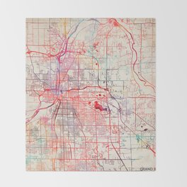 Grand Rapids map Michigan painting Throw Blanket
