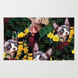 Floral and Sfenks Cat Pattern Rug