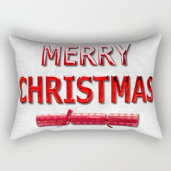 Merry Christmas With Red Cracker in Snow Rectangular Pillow