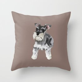 Miniature Schnauzer // dog illustration Throw Pillow