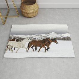 A mixed herd of wild and domesticated horses frolics on the Ladder Livestock ranch at the Wyoming-Colorado border Rug