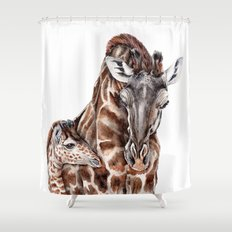 Giraffe with Baby Giraffe Shower Curtain