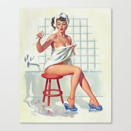 Pin Up Girl in White Bathroom Canvas Print
