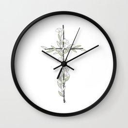 Cross With Little Flowers Wall Clock