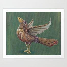 Wooden bird Art Print