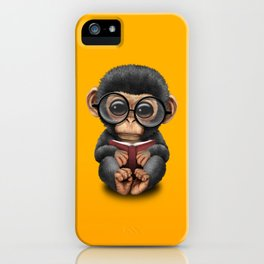 Cute Baby Chimp Reading a Book on Yellow iPhone Case