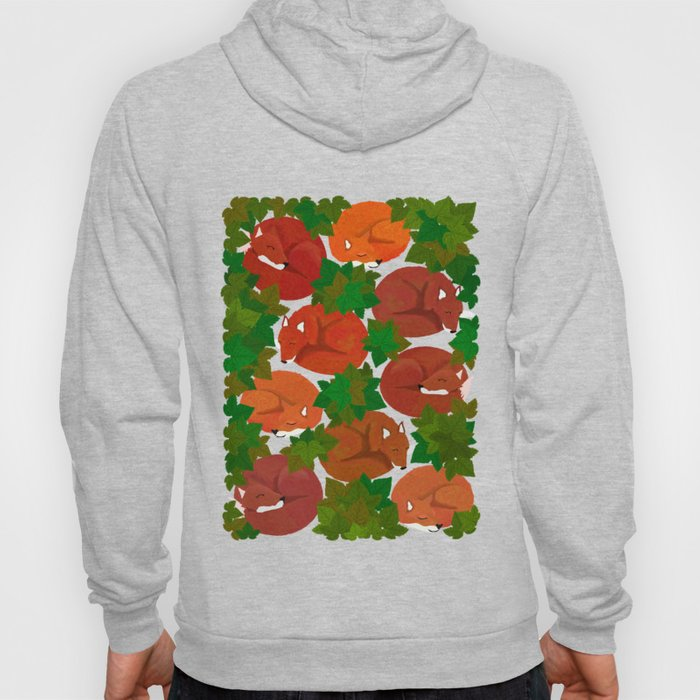 Sleepy foxes and Grapevine leaves Hoody
