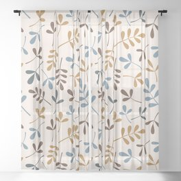 Assorted Leaf Silhouettes Blues Brown Gold Cream Sheer Curtain