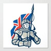british flag Canvas Prints featuring Knight British Flag Retro by patrimonio