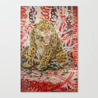 leopard Canvas Prints featuring Leopard by Michael Hammond