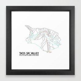 Taos Ski Valley, NM - Minimalist Trail Map Framed Art Print