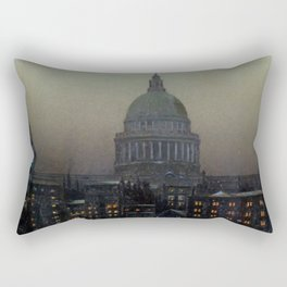 St. Paul's Cathedral on the River Thames, London by Louis H. Grimshaw Rectangular Pillow