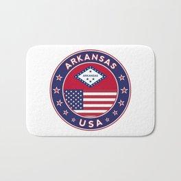 Arkansas, Arkansas t-shirt, Arkansas sticker, circle, Arkansas flag, white bg Bath Mat