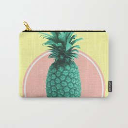 Pineapple Print - Tropical Decor - Botanical Print - Pineapple Wall Art - Yellow, Pink - Minimal Carry-All Pouch