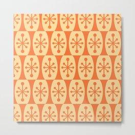 Mid Century Modern Atomic Fusion Pattern 335 Orange and Yellow Metal Print
