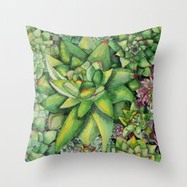 Watercolour Succulents Throw Pillow