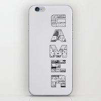 gamer iPhone & iPod Skins featuring Gamer 2 by Angela Felan