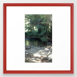 A Seat by the Water Framed Art Print