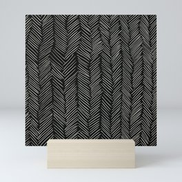 Herringbone Cream on Black Mini Art Print