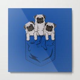 Pocket Pugs_Cobalt Metal Print