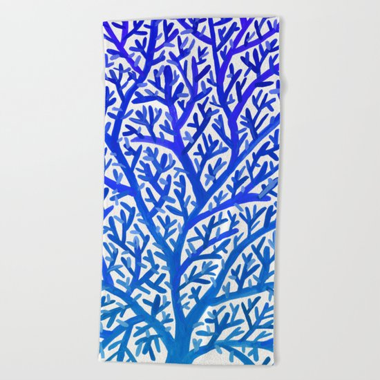 Fan Coral – Blue Ombré Beach Towel