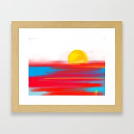 Sketchy Sun and Sea. Sunset and Sunrise Sketch Framed Art Print