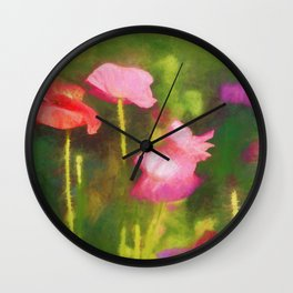 Poppies in Chalk Wall Clock
