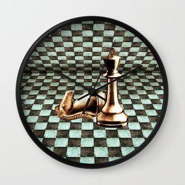 Grunge  Chessboard and Chess Pieces Wall Clock