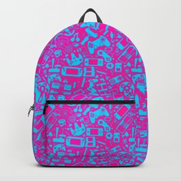 Video Gamer Pattern Pink and Cyan Backpack