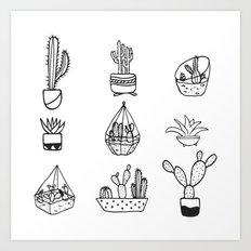 Minimalist Cacti Collection Black and White Art Print