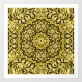 abstract massed wattle mandala in yellow Art Print