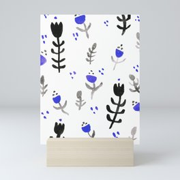 Wildflower Pattern Handpainted Black and Purple Mini Art Print
