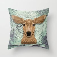 bambi Throw Pillows featuring Bambi by ArtLovePassion