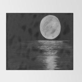 Moonlit. Sunset, water, moon, full moon, orginal painting by Jodilynpaintings. Black and white Throw Blanket
