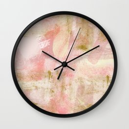 Rustic Gold and Pink Abstract Wall Clock